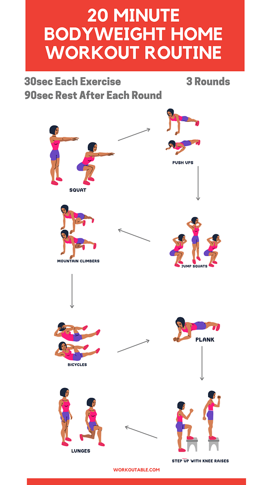 20 Minute bodyweight home workout routine