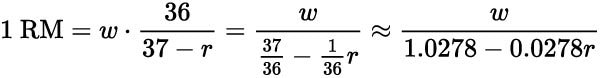 brycki formulae for finding one rep max